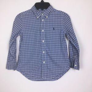 Ralph Lauren blue gingham print long sleeve shirt
